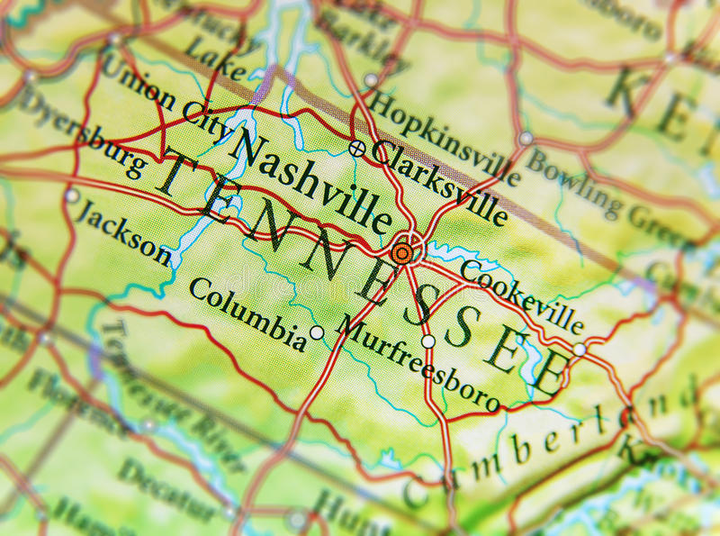 Geographic Map Of US State Tennessee With Important Cities Stock - Geographic map us