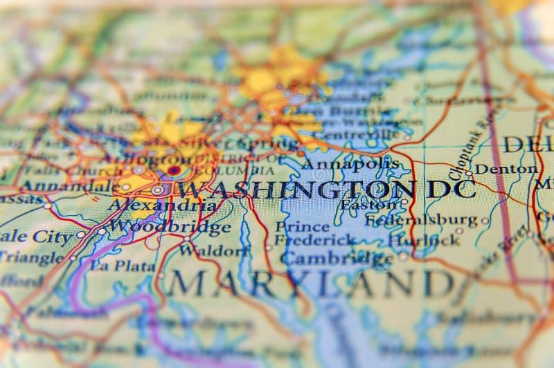 Geographic map of Washington DC close royalty free stock image