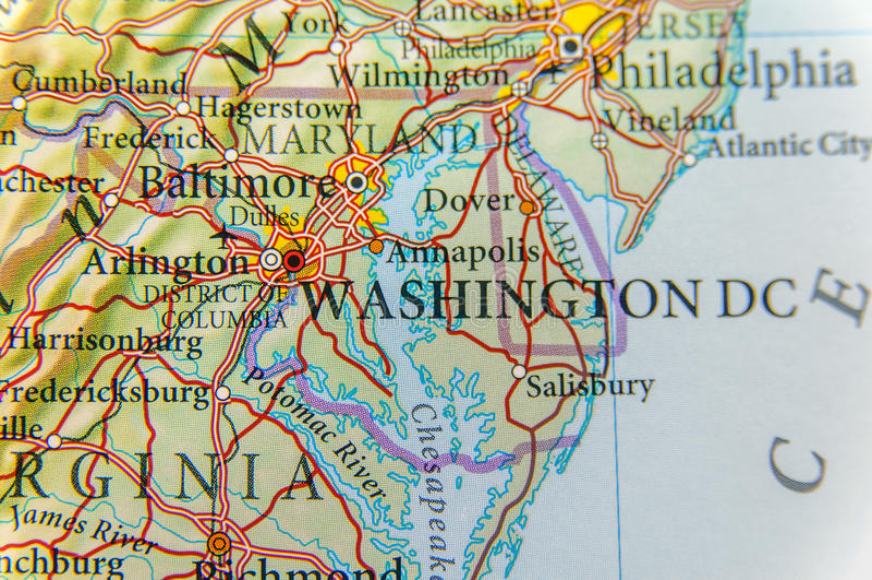 Geographic map of Washington DC close stock photo
