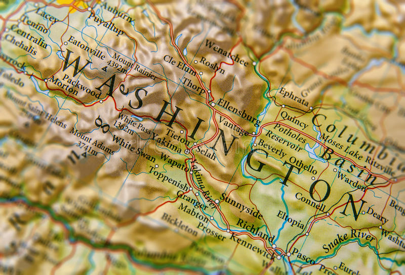 Geographic map of Washington State close stock photography