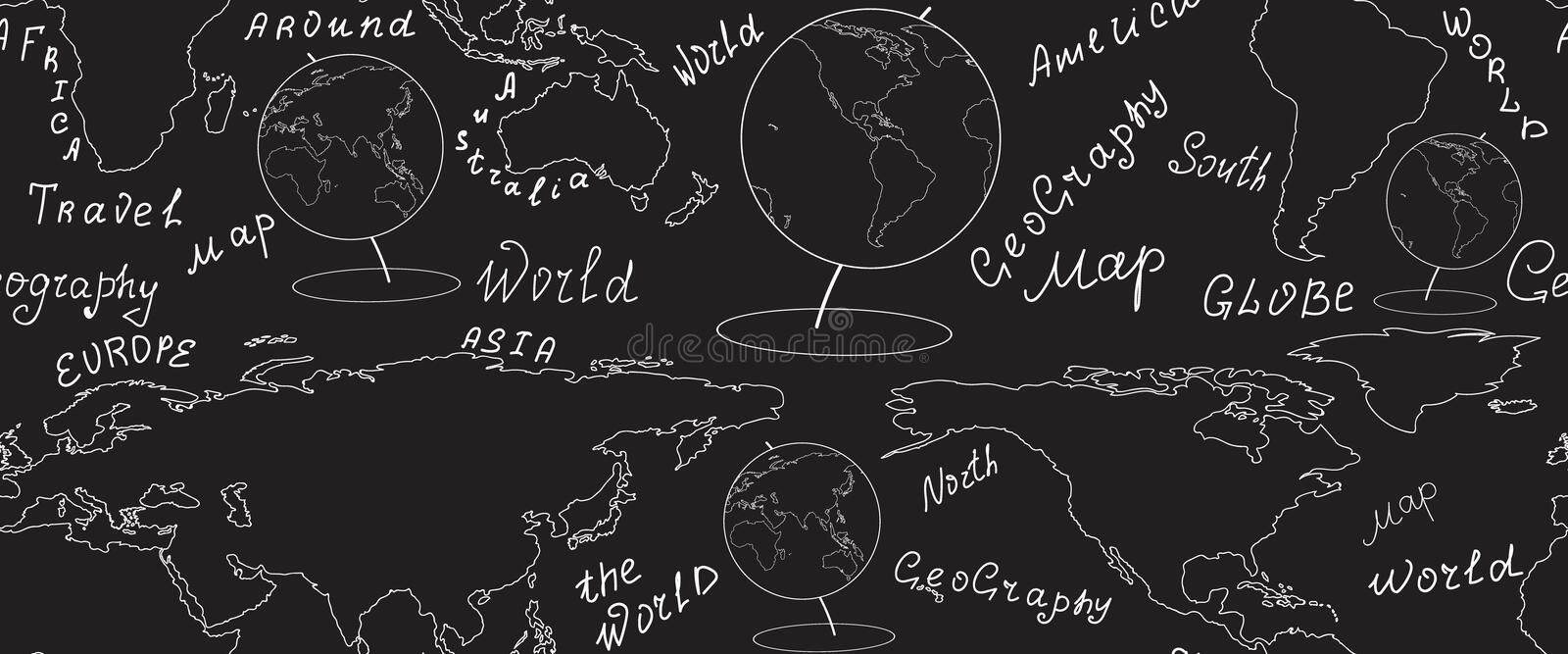 Geographic vector seamless pattern with world map and globes handwritten by chalk on grey board. Elements of this image furnished by NASA vector illustration