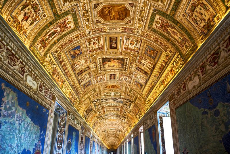 VATICAN CITY, VATICAN: interiors and architectural details of the Vatican museum. Rome, Italy. stock image