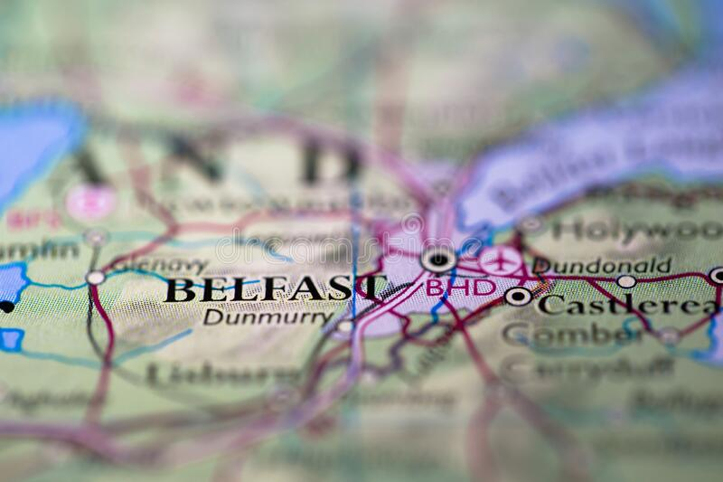 Geographical map location of Belfast city in Northern Island United Kingdom Europe continent on atlas.  royalty free stock photos