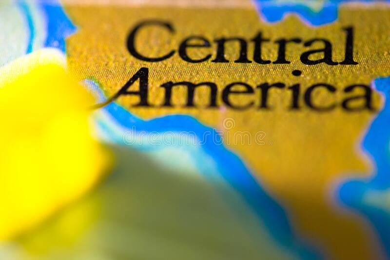 Geographical map location of Central America region in America continent on atlas.  royalty free stock photos