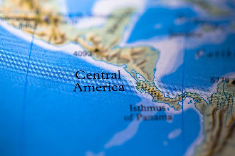 Geographical map location of Central America region in America continent on atlas.  royalty free stock image