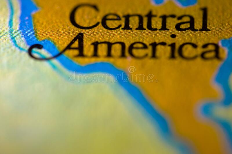Geographical map location of Central America region in America continent on atlas.  stock photography