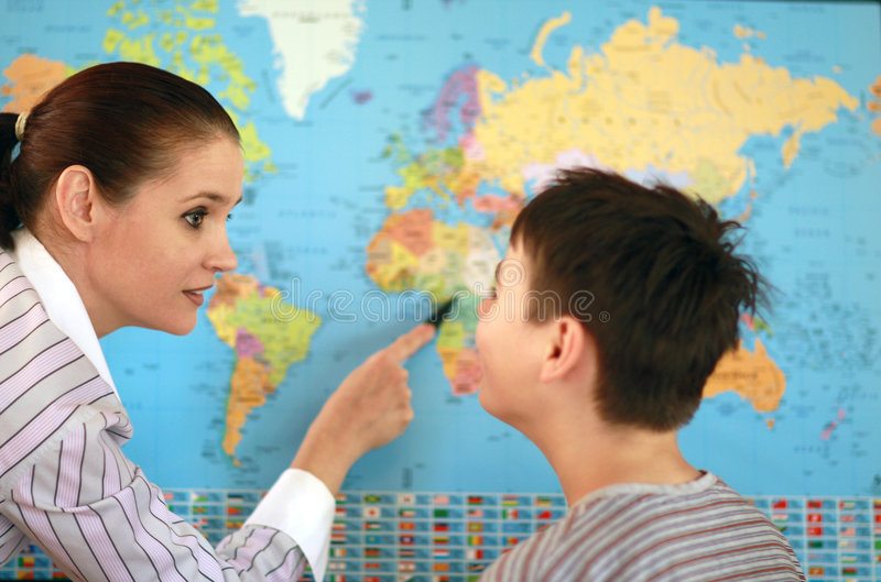 Geographielehrer stockbild