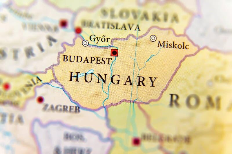 Geographische Karte des europäischen Landes Ungarn mit wichtigen Städten stockfotografie