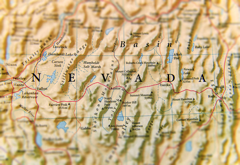Geographische Karte des Nevada-Staatsabschlusses stockbilder
