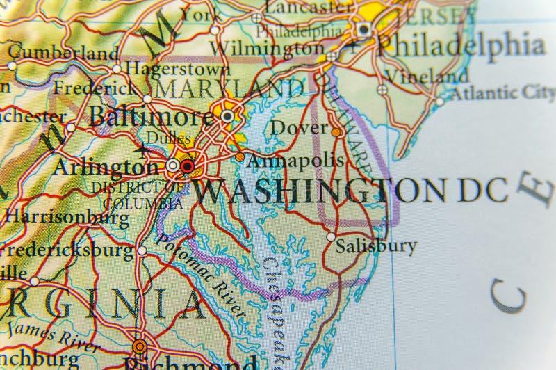 Geographische Karte des Washington DC-Abschlusses stockfoto