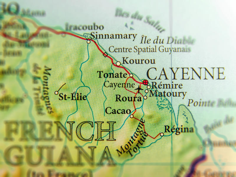 Geographische Karte von Guyana-Land mit Cayennepfeffer-Stadtabschluß stockbilder