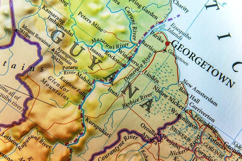 Geographische Karte von Guyana-Land mit wichtigen Städten stockfotos