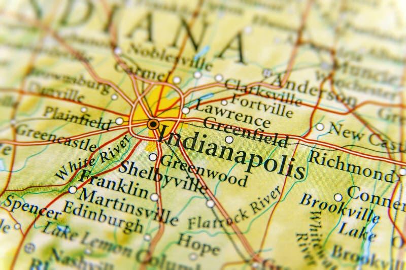 Geographische Karte von Indianapolis-Abschluss lizenzfreies stockfoto