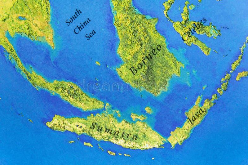 Geographische Karte von Java, von Sumatra, von Celebes und von Borneo-Inseln stockfoto