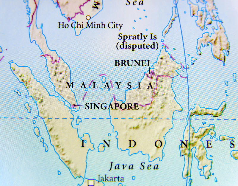 Geographische Karte von Malaysia-Land mit wichtigen Städten stockfoto