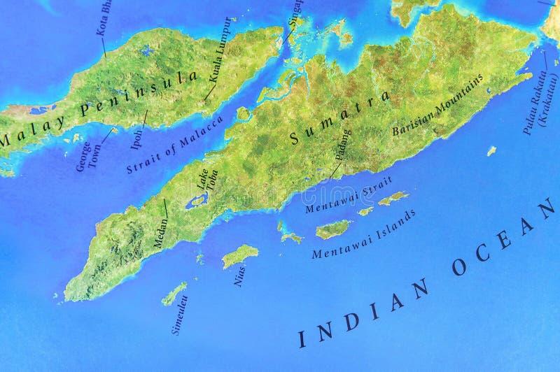 Geographische Karte von Sumatra-Insel mit wichtigen Städten stockfoto