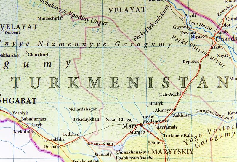 Geographische Karte von Turkmenistan mit wichtigen Städten stockbild