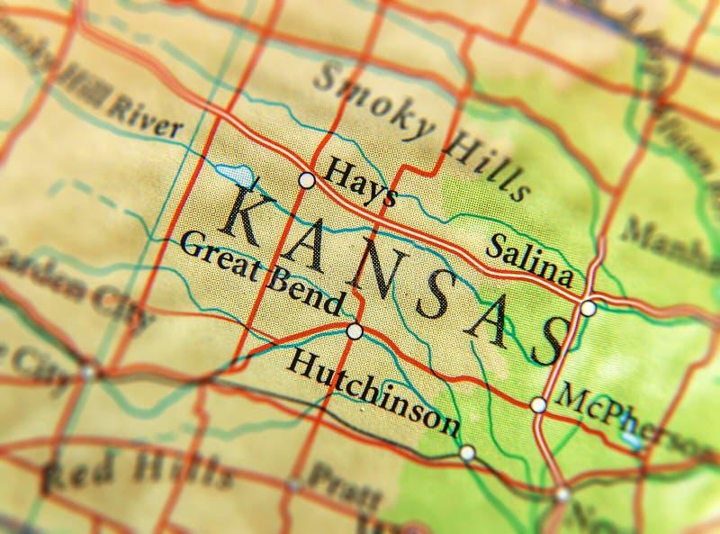 Geographische Karte von US-Staat Kansas mit wichtigen Städten lizenzfreies stockfoto