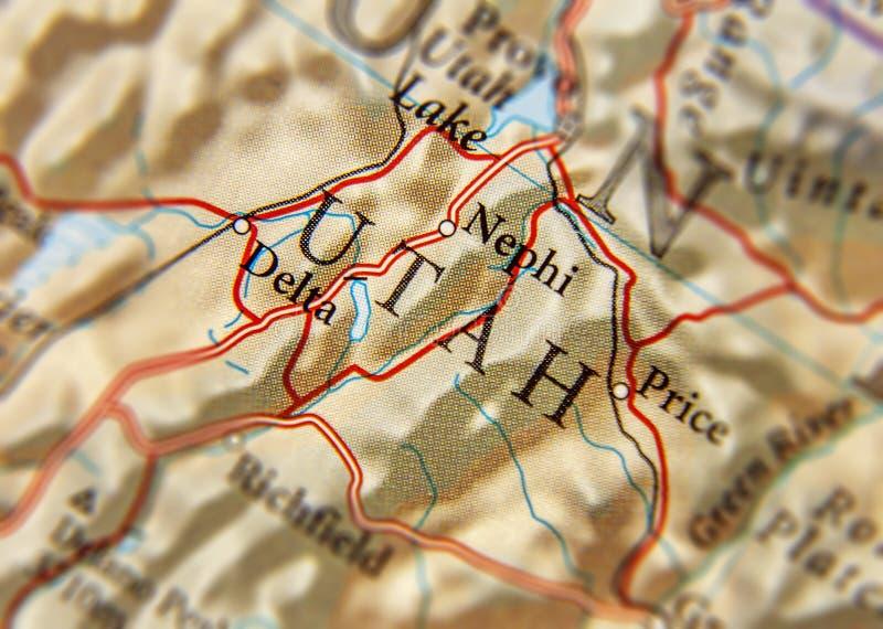 Geographische Karte von US-Staat Utah und wichtiges zitiert lizenzfreies stockbild