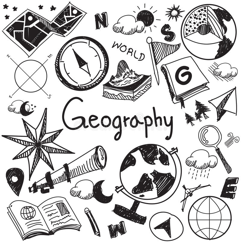 Geography and geology education subject handwriting doodle icon. Of earth exploration and map design sign and symbol in white isolated background paper used for stock illustration