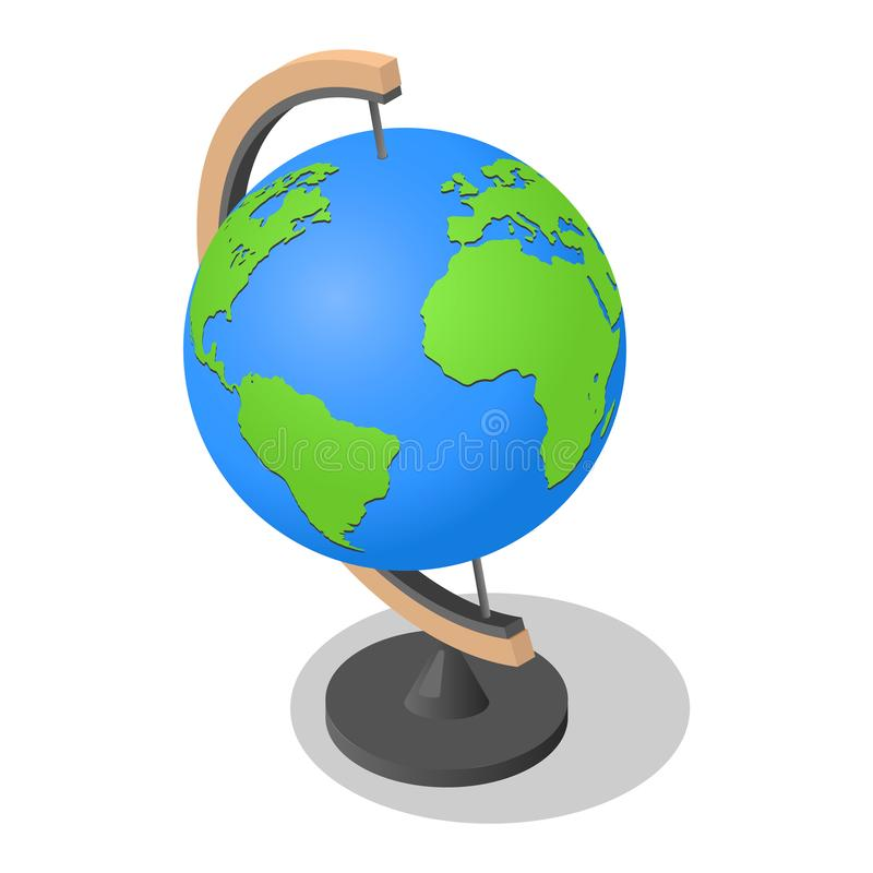 Geography globe earth school icon, isometric style vector illustration