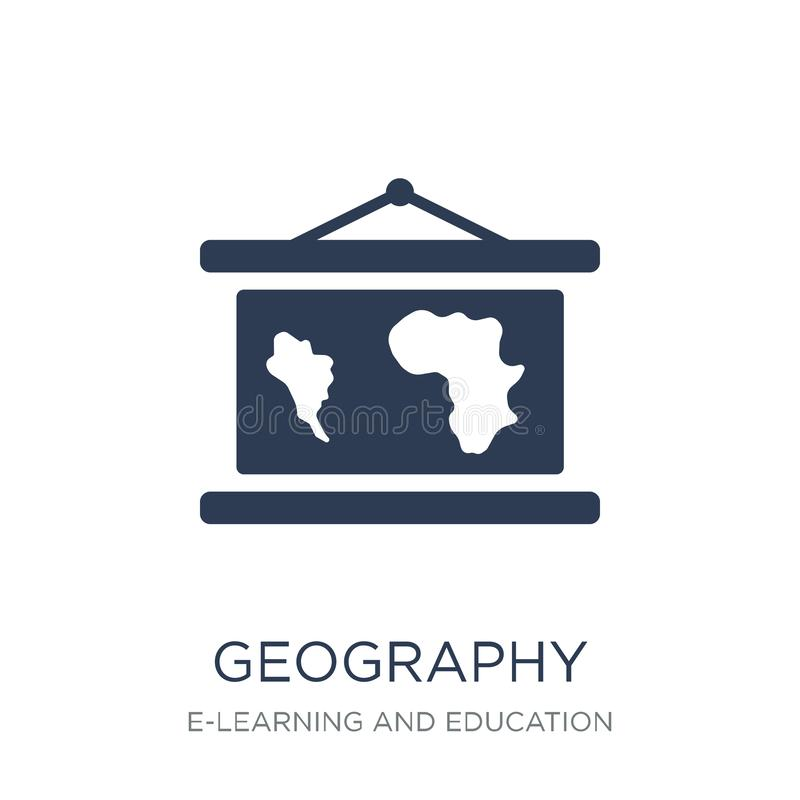Geography icon. Trendy flat vector Geography icon on white background from E-learning and education collection royalty free illustration