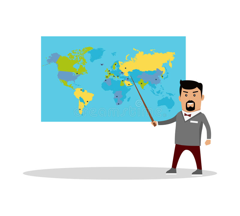 Geography Lesson Flat Design Vector Illustration. stock illustration