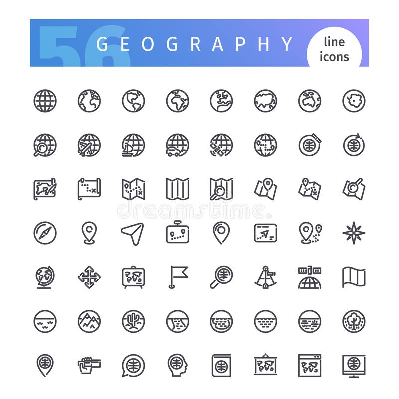 Geography Line Icons Set stock illustration