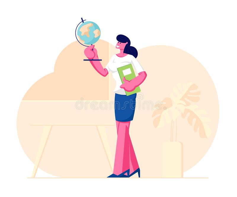 Geography Teacher Woman Character Holding Globe and Class Journal Stand on Classroom Background with Table, Blackboard. And Potted Plant, School Worker stock illustration