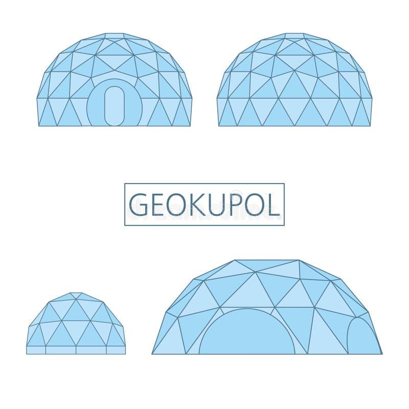 Geokupol, estructura arquitectónica tent_spherical, montada de las barras que forman una estructura geodésica ilustración del vector
