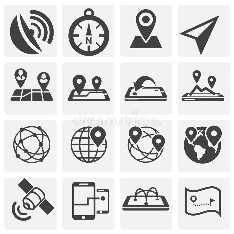 Geolocation关系了在图表和网络设计的背景设置的象 E E 库存例证