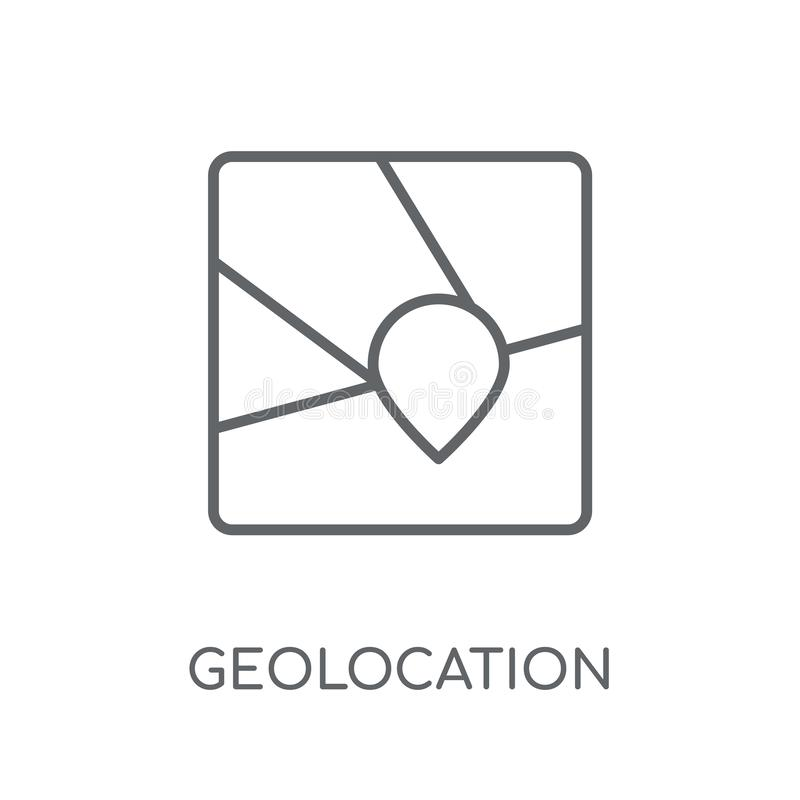 Geolocation线性象 现代概述Geolocation商标概念 库存例证