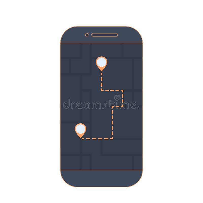 Geolocation app Абстрактные карта города, трасса и ob метки положения экранируют smartphone Ориентация местности бесплатная иллюстрация