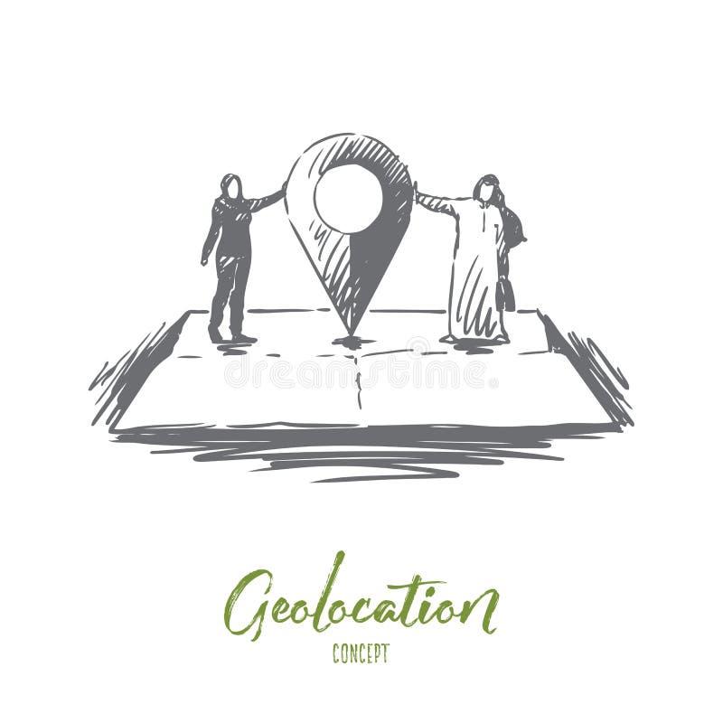 Geolocation, GPS, mapa, musulmán, concepto del hombre de negocios Vector aislado dibujado mano libre illustration