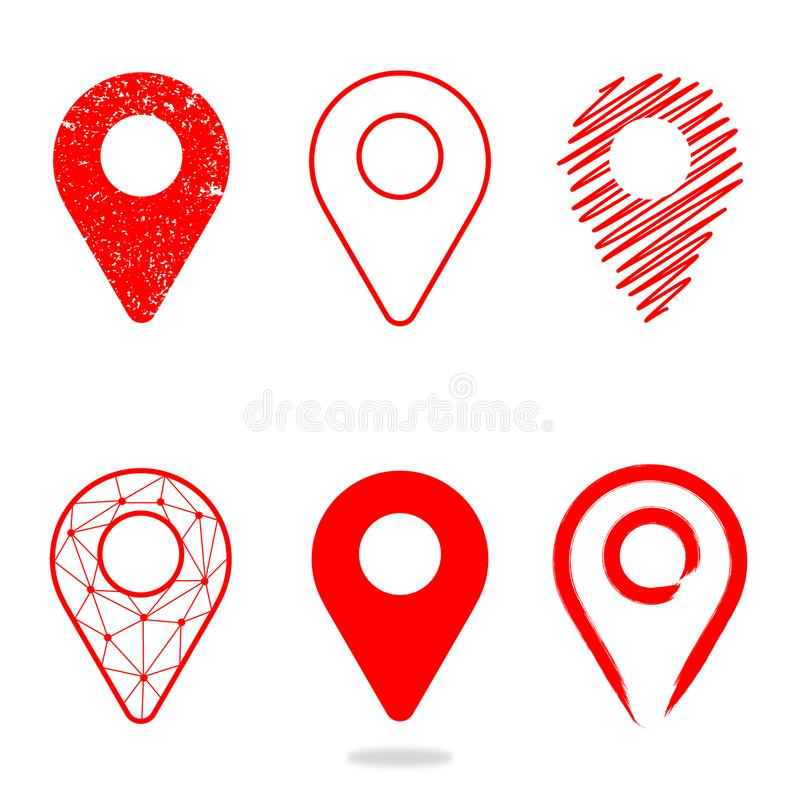 Geolocation icon pack. Set of Geolocation signs in different style for your web site design, logo, app, UI. royalty free illustration
