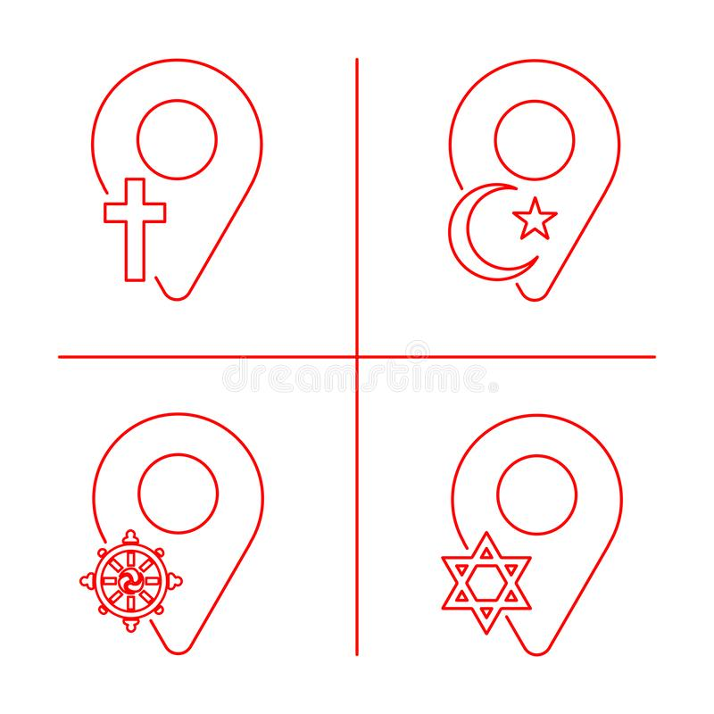 Geolocation icon pack. Set of Geolocation signs with icons for your web site design, logo, app, UI. Icons with symbols of Christia. Nity, Islam, Judaism royalty free illustration