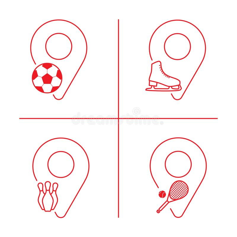 Geolocation icon pack. Set of Geolocation signs with icons for your web site design, logo, app, UI. Icons with symbols of football. Tennis, bowling, figure stock illustration