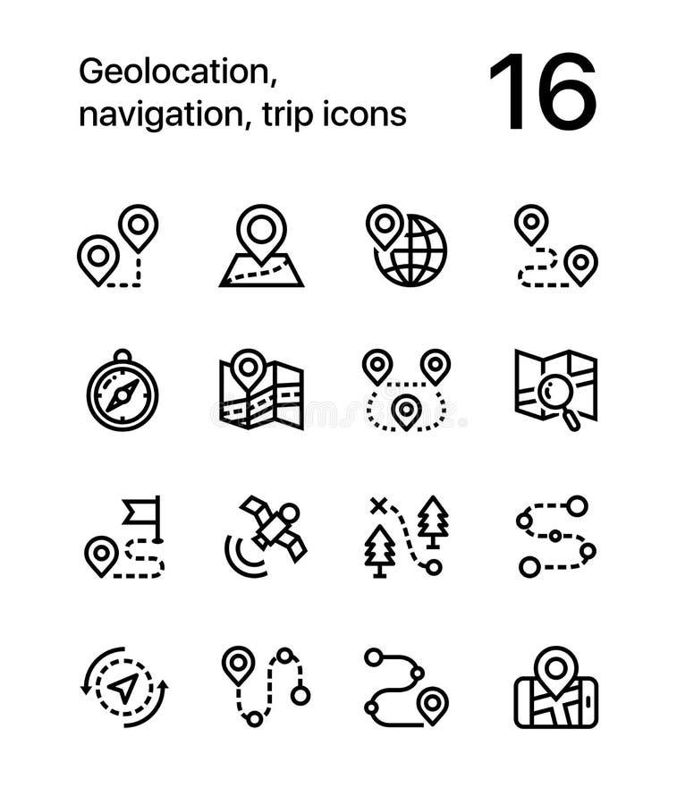 Geolocation, navegación, iconos del viaje para el web y paquete móvil 1 del diseño libre illustration
