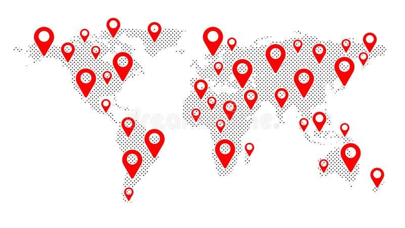 Geolocation op de wereldkaart De achtergrond is volledig met sterren Amerika, Azi?, Afrika, de V.S. Rode tellerspictogrammen Kaar vector illustratie