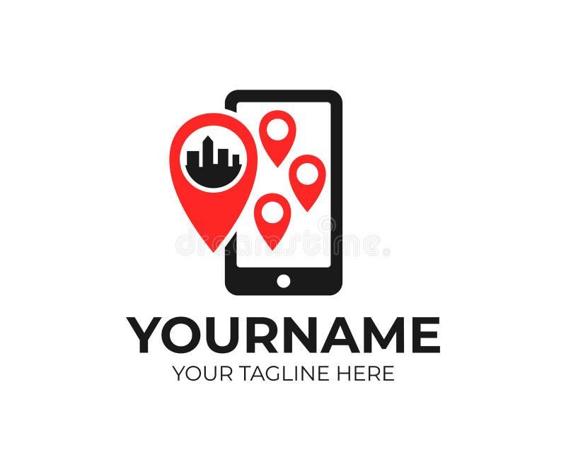Geolocation, ponteiro do mapa do lugar e smartphone, molde do logotipo Pinpoint e telefone, projeto do vetor ilustração stock