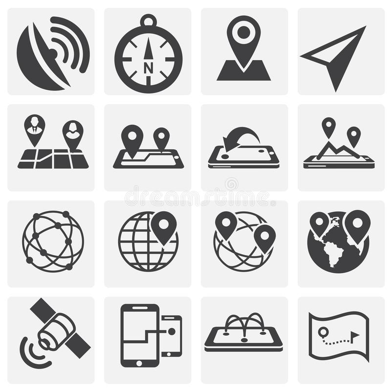 Geolocation related icons set on background for graphic and web design. Simple illustration. Internet concept symbol for. Website button or mobile app stock illustration