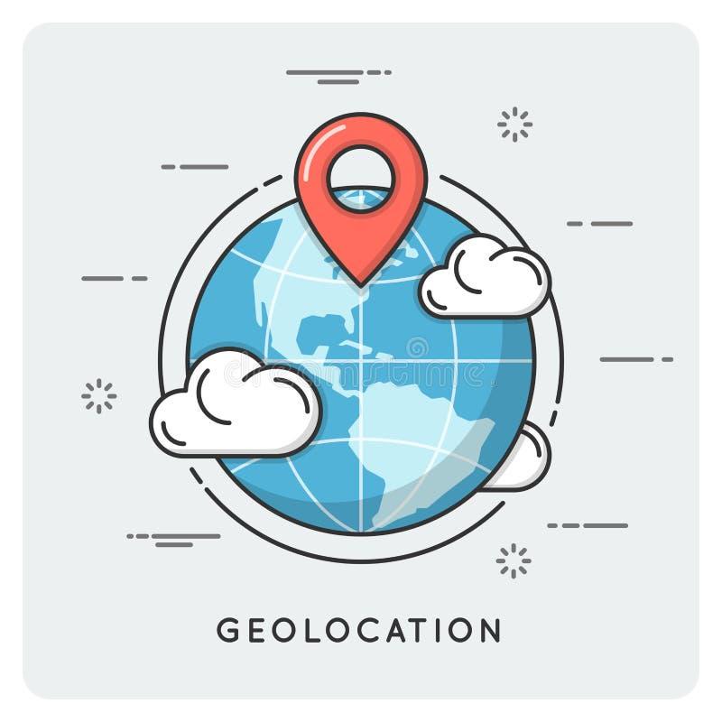 Geolocation und Navigation Dünne Linie Konzept lizenzfreie abbildung