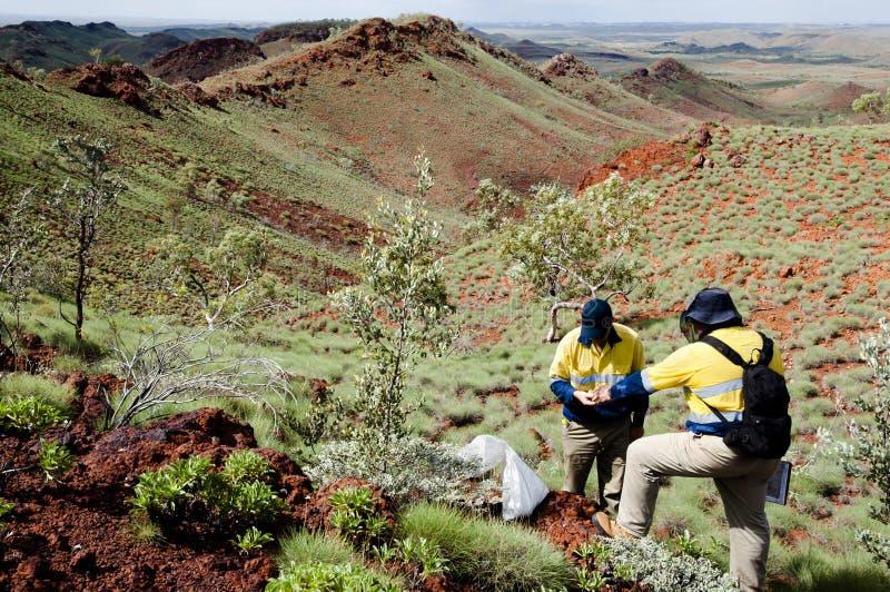 Geolog Prospecting för järnmalm - Pilbara - Australien arkivfoto