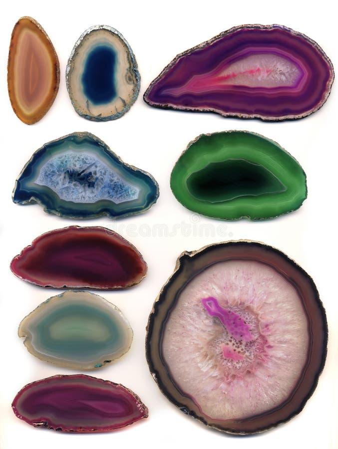 Geologia & minerais - amostras de mineral de Geode fotografia de stock