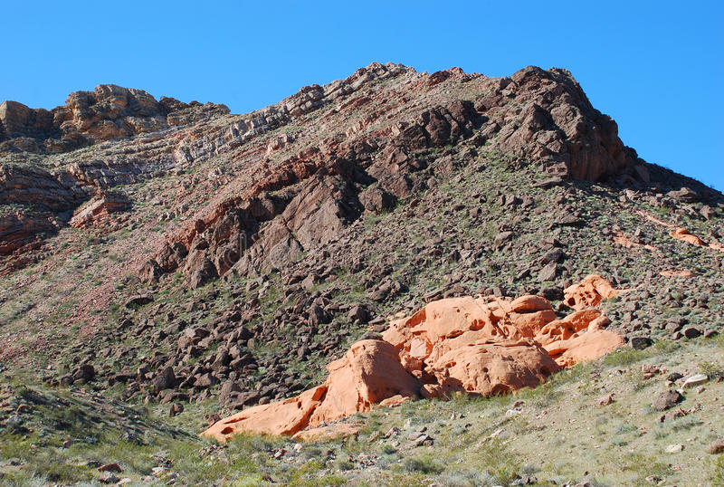 Geologia di geologia di Pinto Valley in lago Mead Recreational Area, Nevada immagini stock libere da diritti