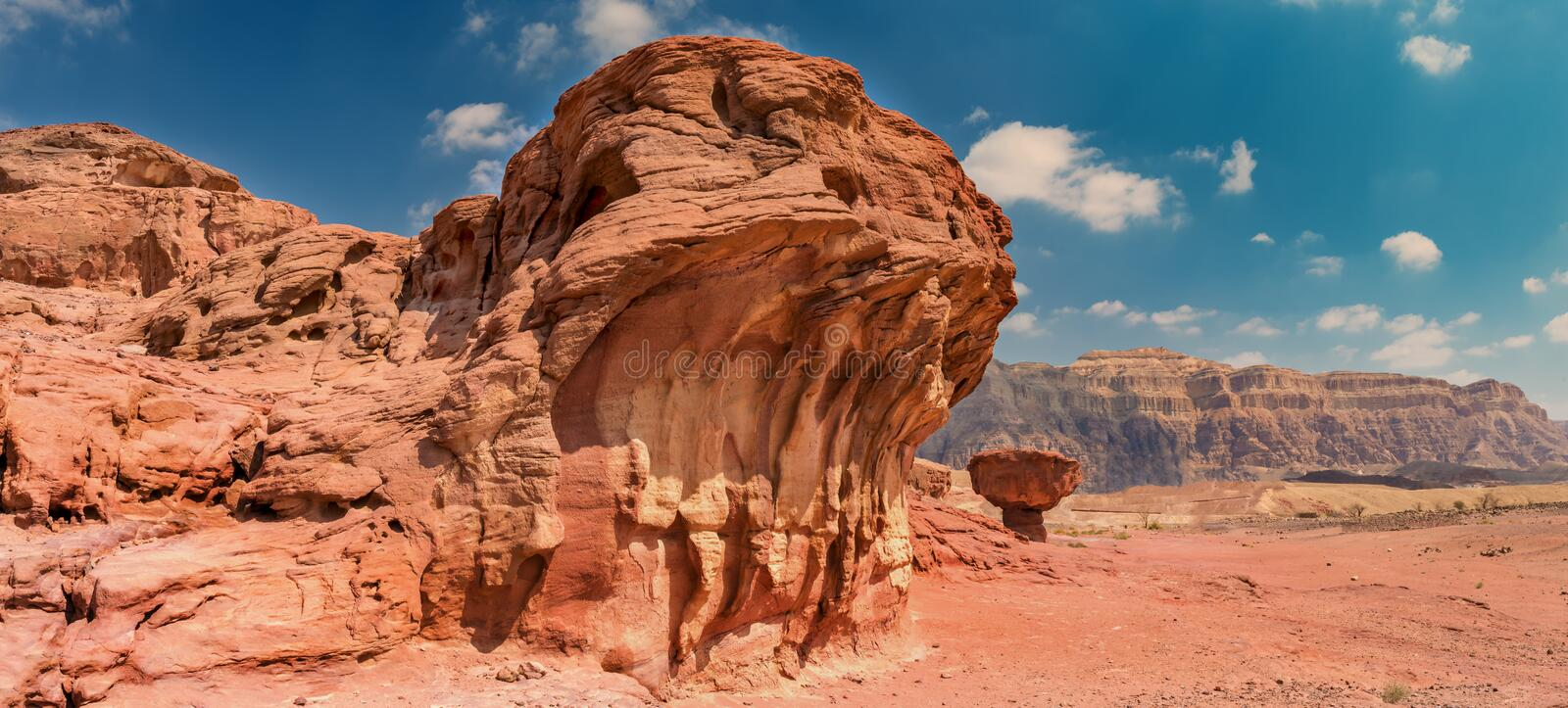 Geological formation, Timna park, Israel. Geological nature park Timna is located 25 km north of Eilat (Israel); it combines beautiful scenery with unique stock image