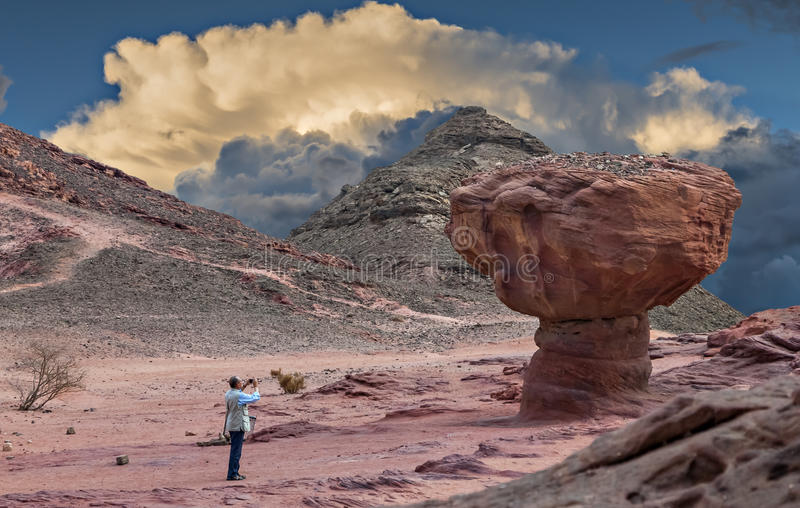 Geological formations in nature desert valley of Timna park, Israel royalty free stock photo