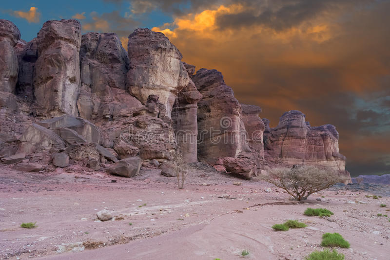 Geological formations in nature desert valley of Timna park, Israel royalty free stock images