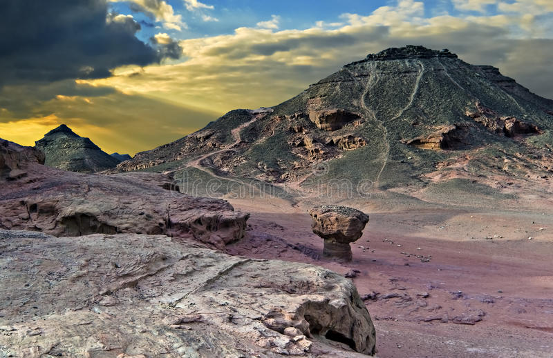 Geological formations in Timna park, Israel royalty free stock photo