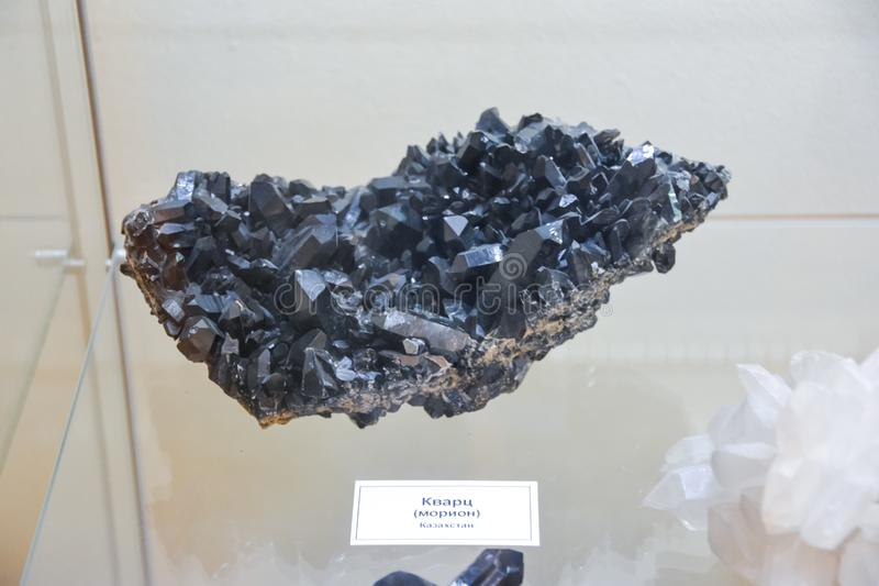 Minerals on display at the museum, Exhibits of the Museum named after Vernadsky in Moscow stock images